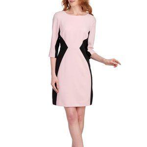 NINE WEST Pink Colorblock 3/4 Sleeve Sheath Dress